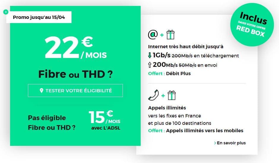 abonnement internet fibre SFR Red Box à 22 € par mois sans engagement