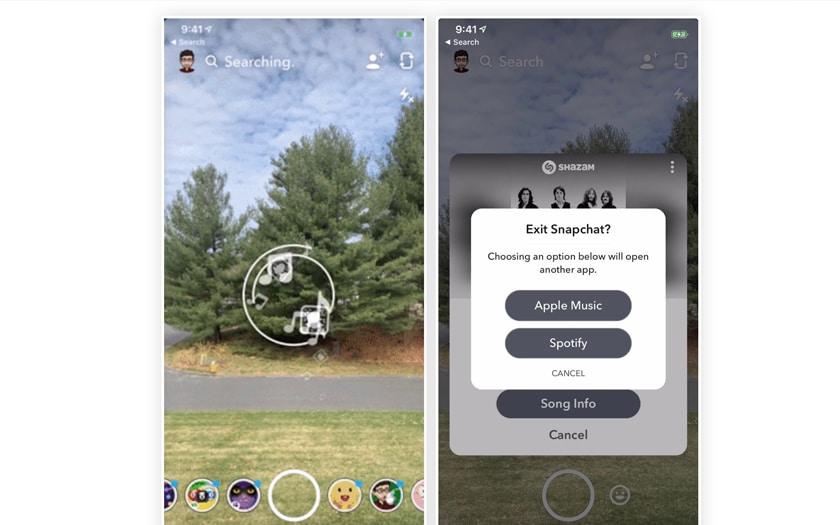 Shazam dans Snapchat