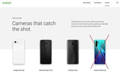 Huawei retiré du site d'Android