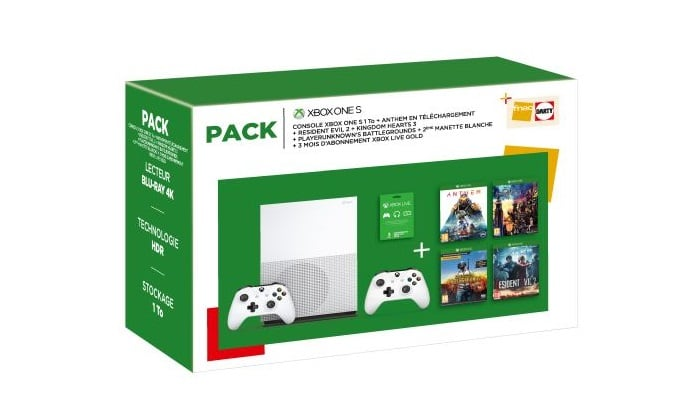 Pack-Fnac-Console-Microsoft-Xbox-One-S-1-To-2eme-manette-Anthem-Legion-of-Dawn-Edition-Resident-Evil-2-Kingdom-Hearts-3-PlayerUnknown-s-Battlegrounds-3-mois-de-Live-Gold