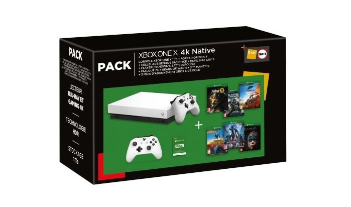 Pack-Fnac-Console-Microsoft-Xbox-One-X-1-To-2eme-manette-Forza-Horizon-4-Hellblade-Senua-s-Sacrifice-Devil-May-Cry-5-PlayerUnknown-s-Battlegrounds-Fallout-76-Gears-of-War-4-3-mois-de-Live-Gold