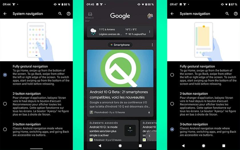 android q navigation par gestes