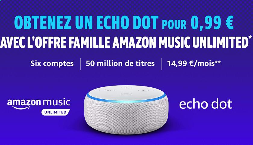 offre amazon music unlimited famille echo dot