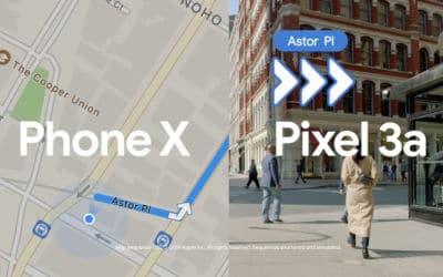 Google compare Maps et Plans dans une pub Pixel 3a vs iPhone XS