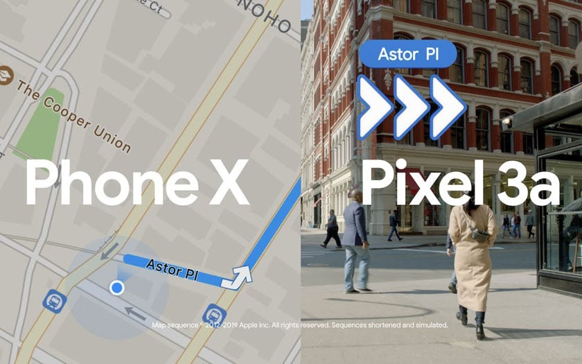 Google compare Maps et Plans dans une pub Pixel 3a vs iPhone XS
