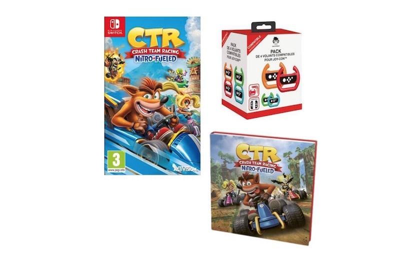 Crash Team Racing Nitro Fueled sur Switch avec pack 4 volants et L'histoire de CTR à 34,99 €