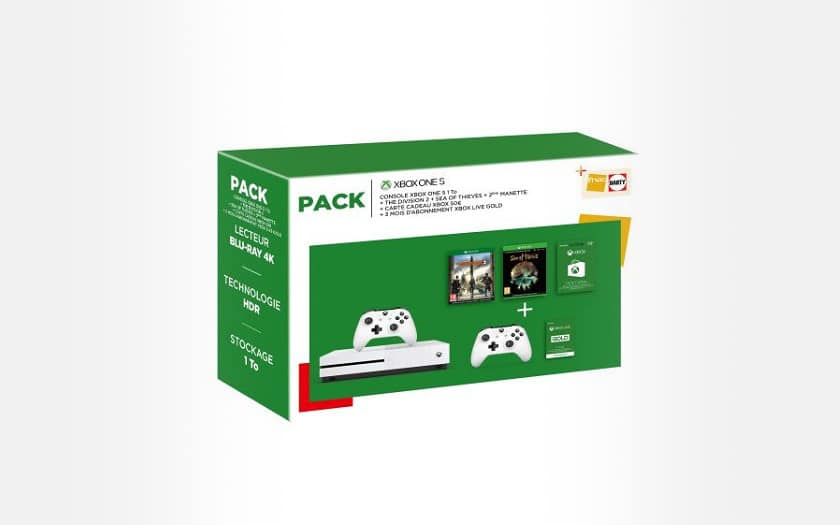 Pack-Fnac-Console-Microsoft-Xbox-One-S-1-To-Blanc-2eme-manette-The-Division-2-Sea-Of-Thieves-Carte-Cadeau-Xbox-50-3-mois-de-Live-Gold