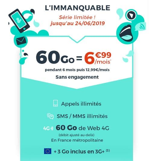 Forfait Cdiscount Mobile 60 Go à 6.99 €