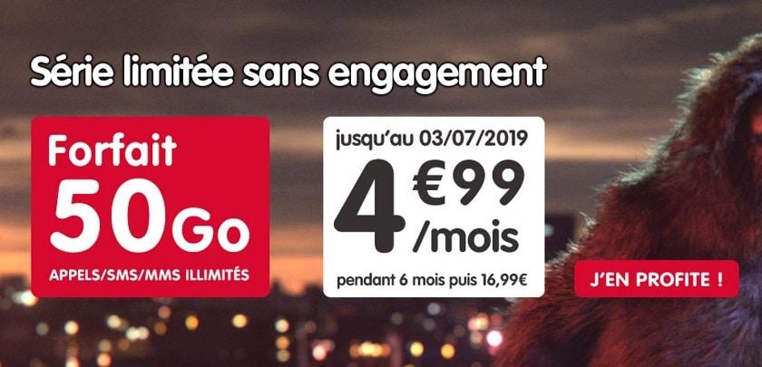 NRJ Mobile: forfait 50Go à 4,99€ par mois durant 6 mois sans engagement