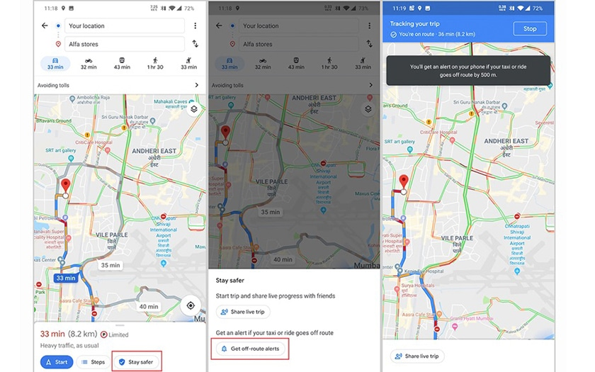 google maps taxi detour avertir
