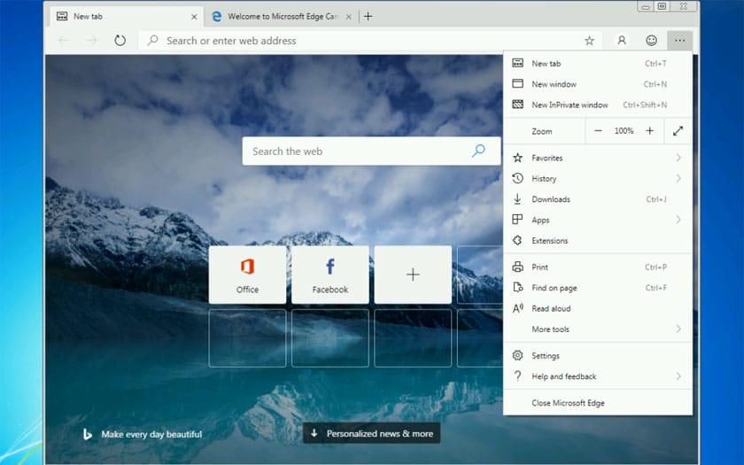 Microsoft Edge Chromium sous Windows 7 et 8