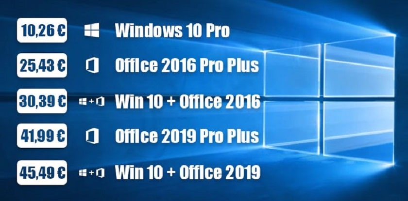 Deals Offers from GoodOffer24: Cheap Windows 10 Pro keys at € 10.26, Office 2016 Pro Plus at € 25.43