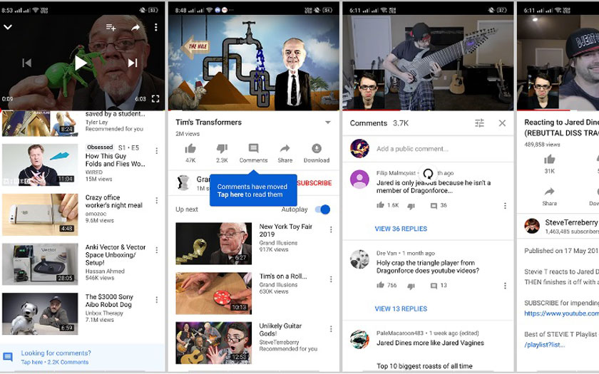 YouTube teste une nouvelle interface su Android