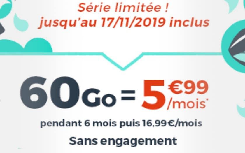 forfait cdiscount mobile 60 Go promo
