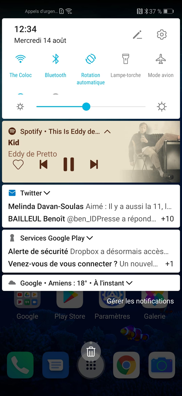 spotify barre notification