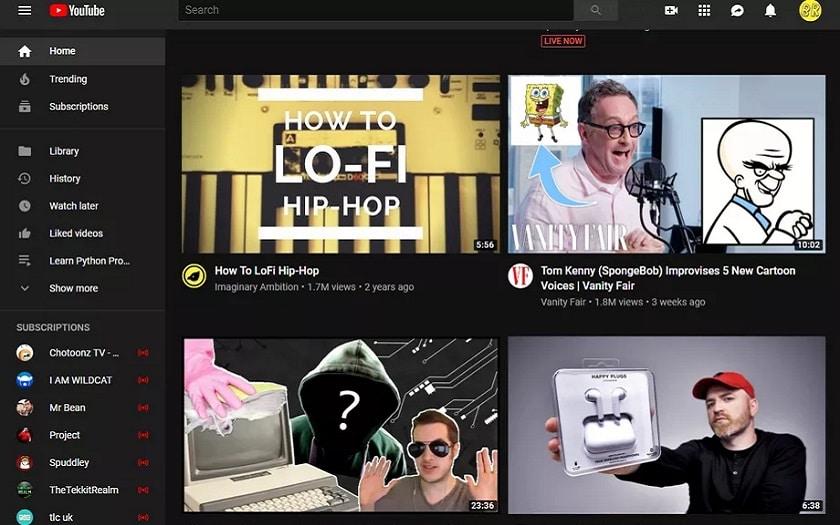 YouTube teste un nouveau design