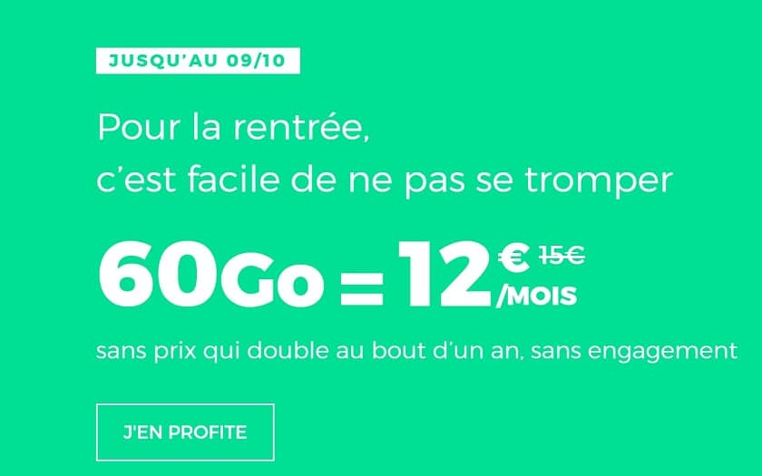 Forfait red by sfr 60 Go à 12 €