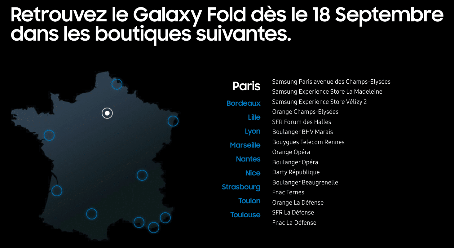 test samsung galaxy fold points vente