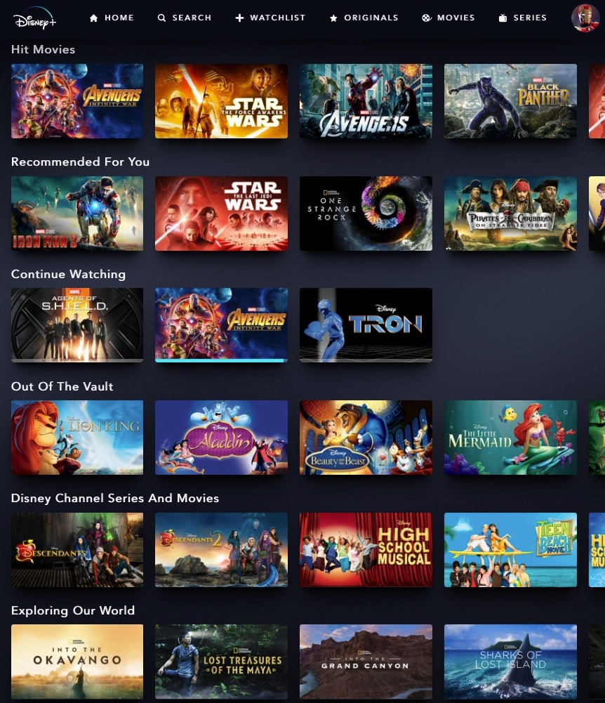 Catalogue Disney+