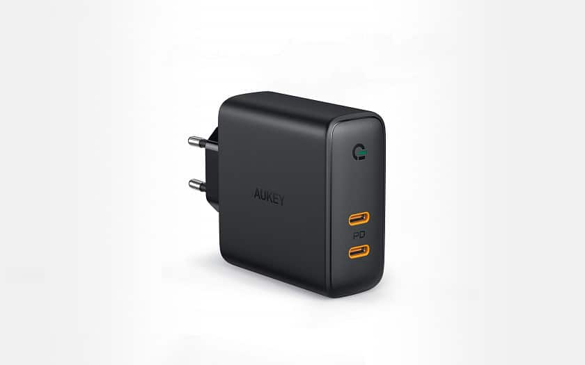 chargeur aukey 2 ports USB C 60W