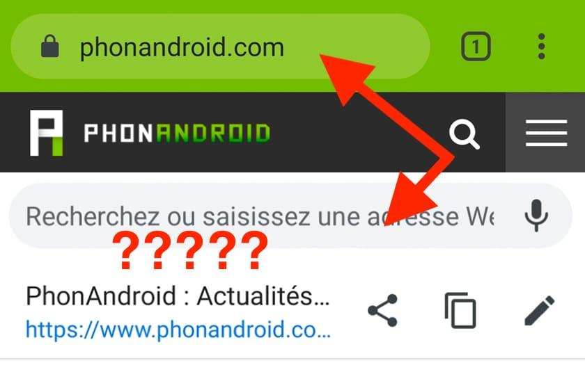 Chrome Android modifier URL barre d'adresses