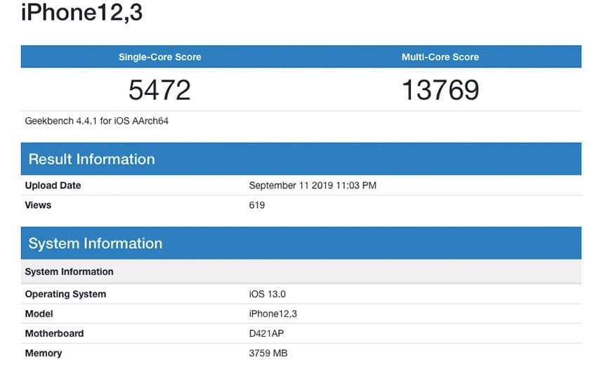 iphone 11 benchmark