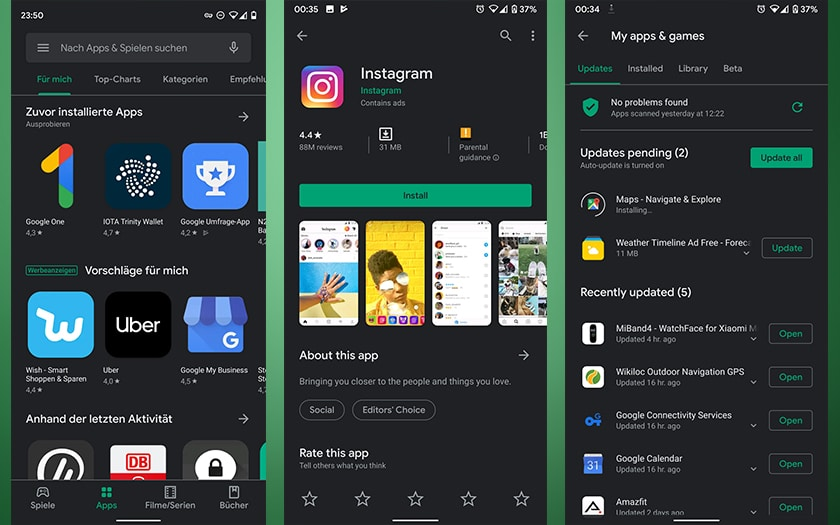 Google Play Store mode sombre