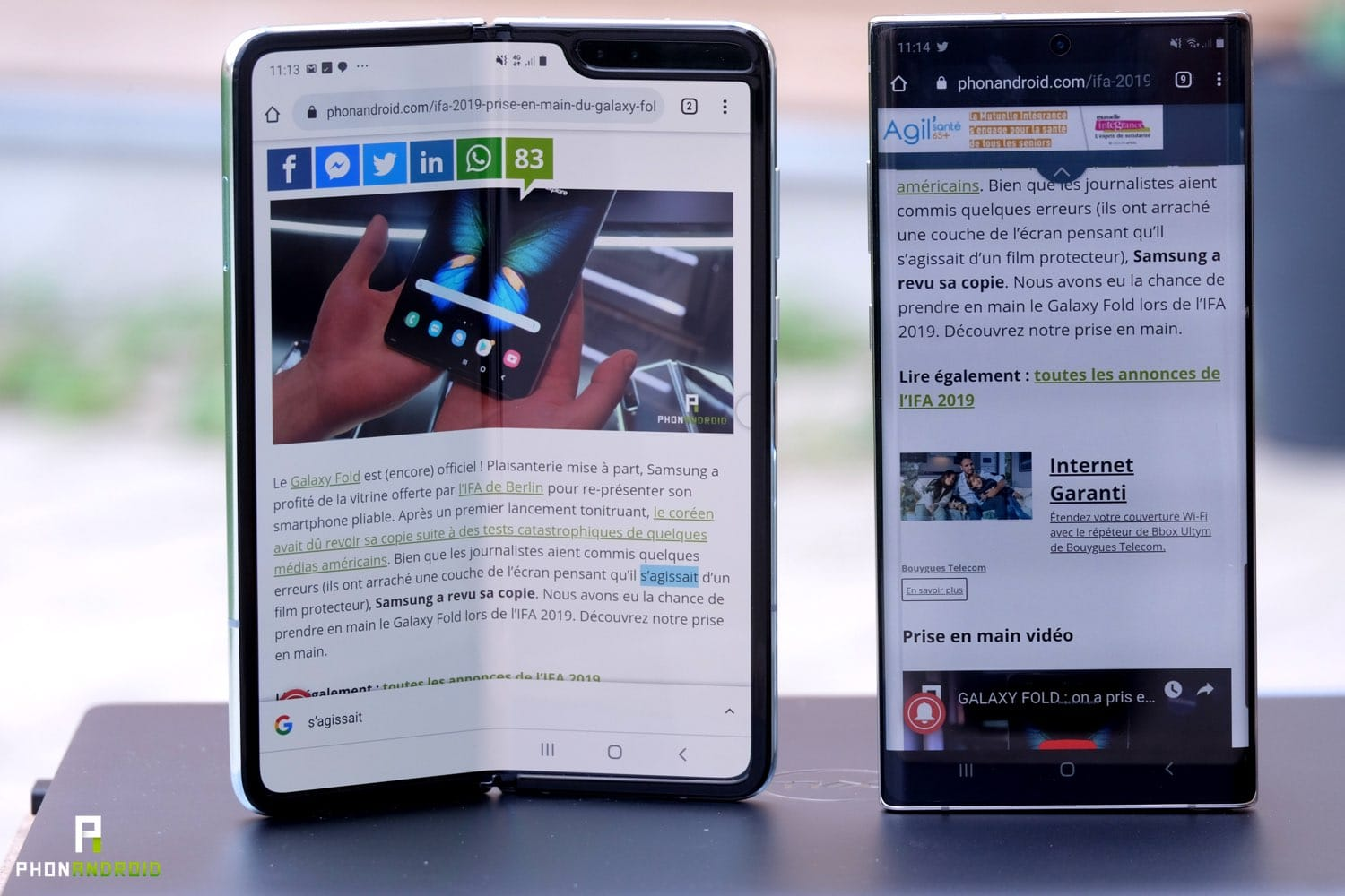 test samsung galaxy fold design vs note 10