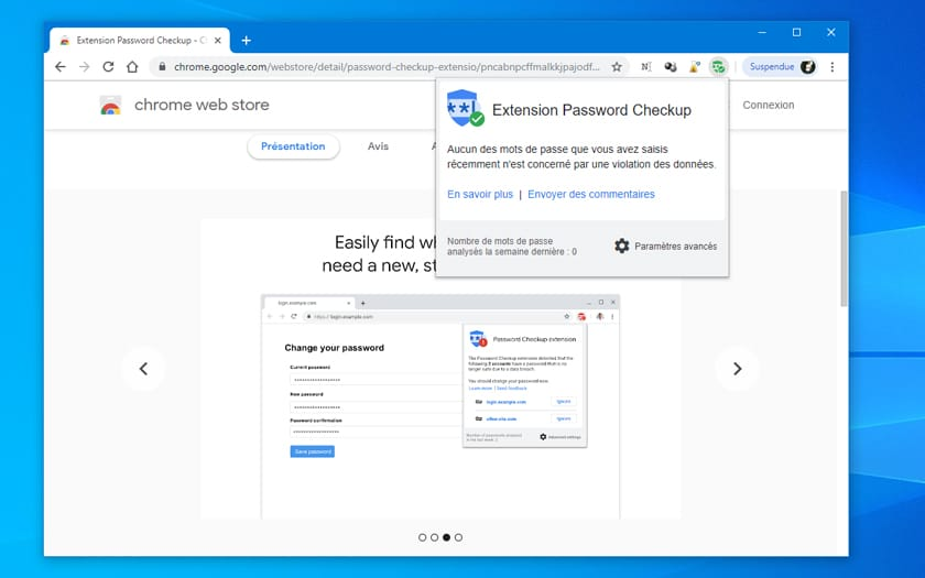 Google Chrome extension de verification mot de passe