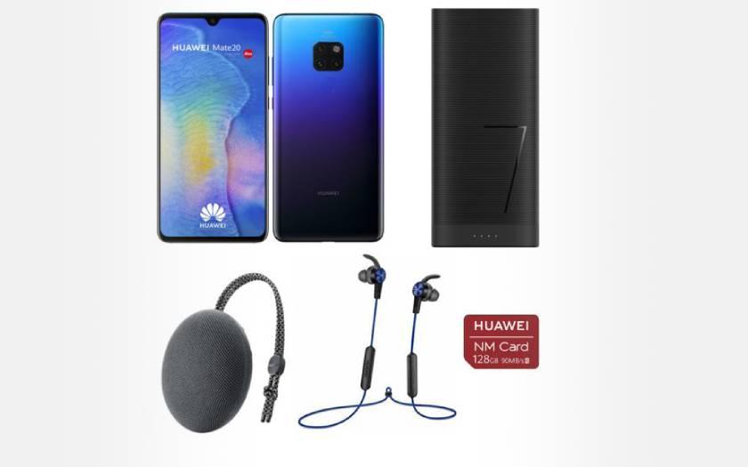 Pack Huawei Mate 20 + écouteurs + enceinte + carte SD 128 Go + batterie à 399€