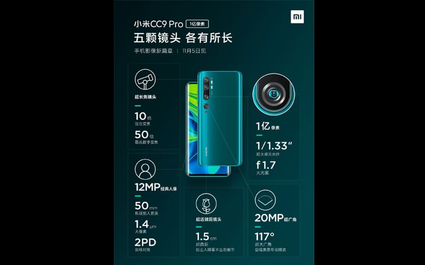 Xiaomi Mi Note 10 - Xiaomi Mi Note 10: the Android smartphone 108 Mpx is coming soon in France - Phonandroid