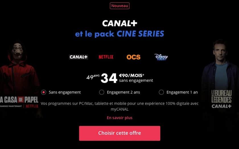 Canal+ propose Netflix dans l'offre Ciné Séries dès 34,90 € par mois