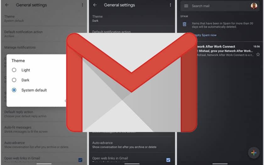 Mode sombre de Gmail
