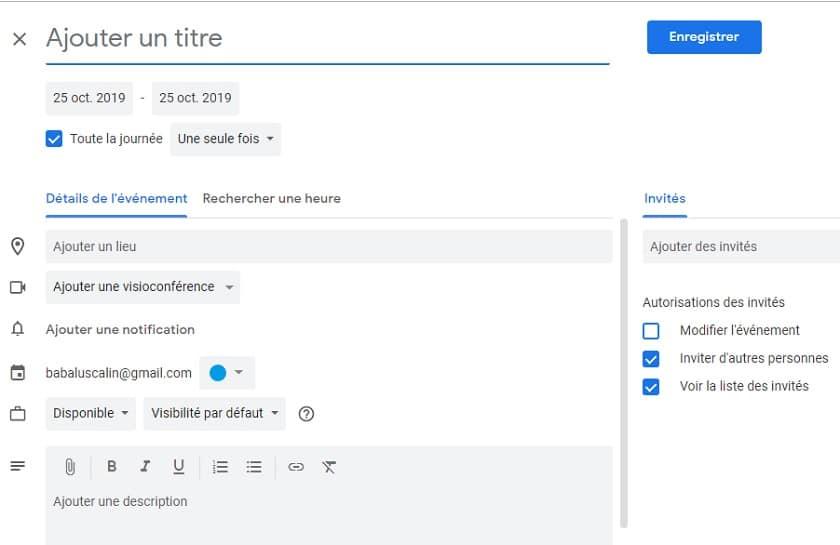 Créer un événement Google Agenda rapidement depuis chrome