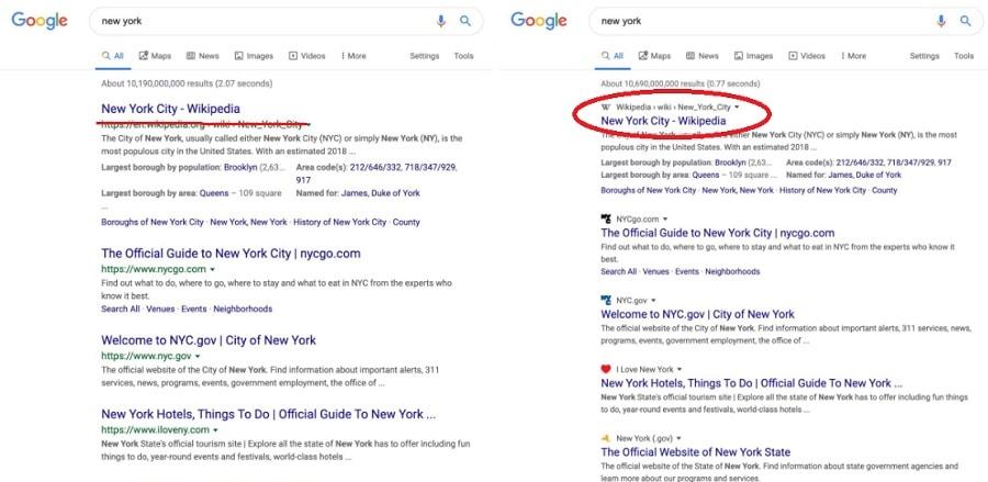 Google Search : change d'interface sur PC