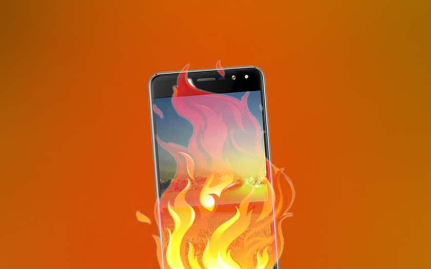Smartphone en feu