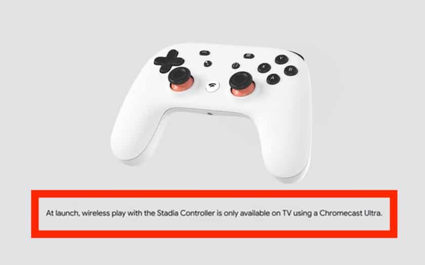Stadia Controller ne sera sans fil qu'avec Chromecast Ultra