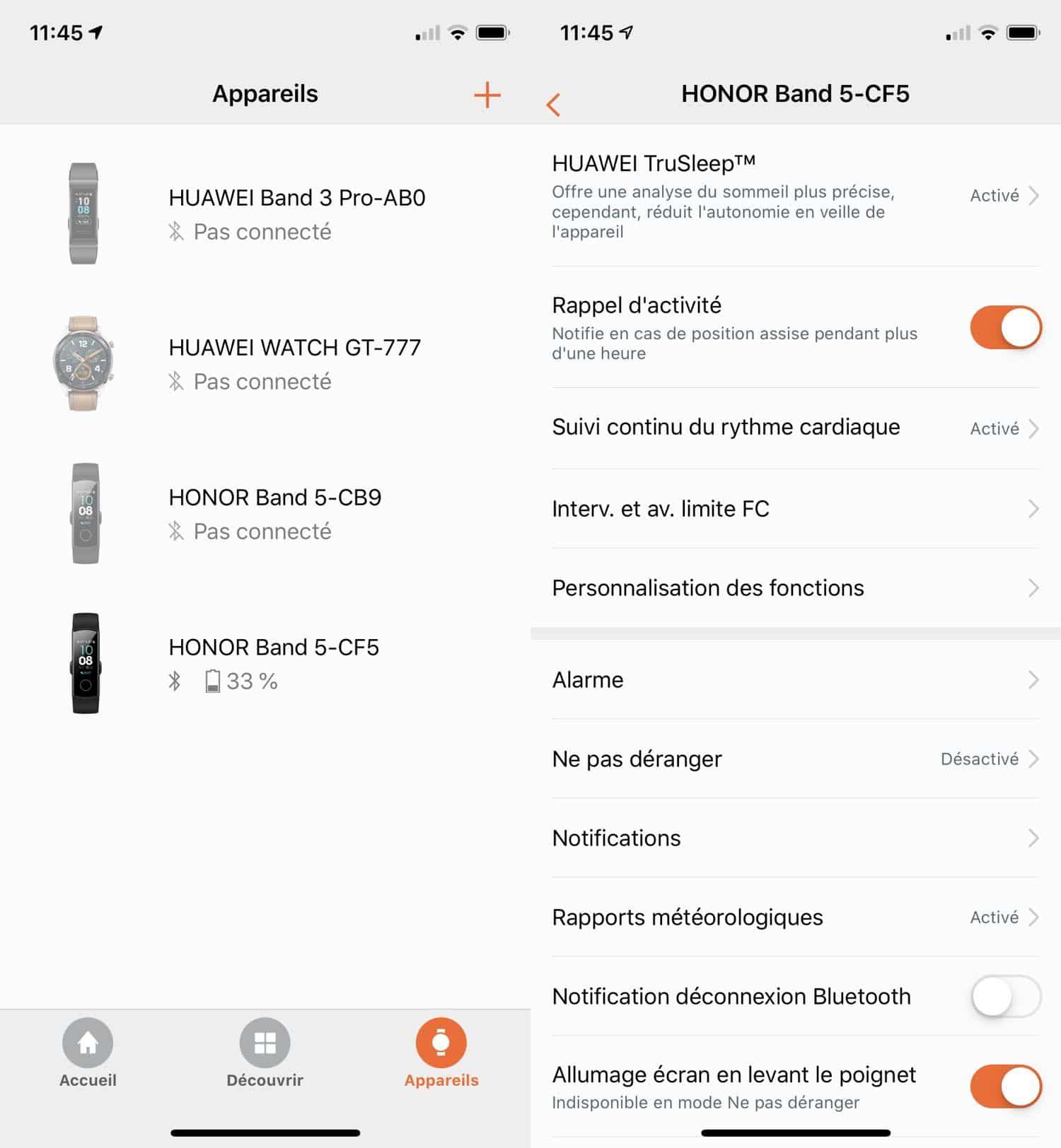 test honor band 5 appli appareils