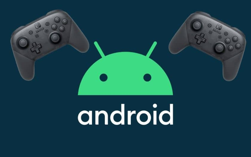 Logo Android et image manette switch pro