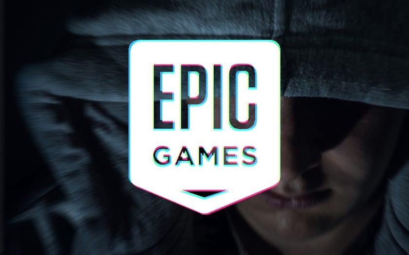 Logo d'Epic Games avec visage menaçant