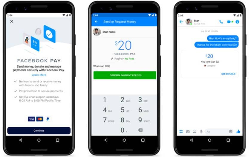 facebook pay envoyer argent messenger instagram whatsapp