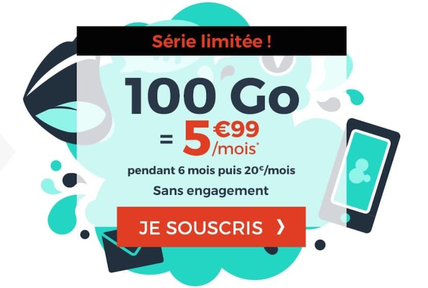 Forfait mobile Cdiscount 100 Go à 5.99 € par mois