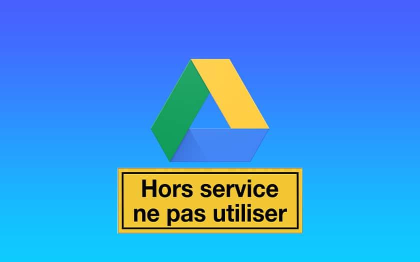 logo google drive et panneau hors service