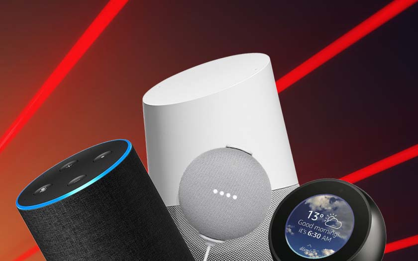 google home amazon echo lasers pirater enceinte distance