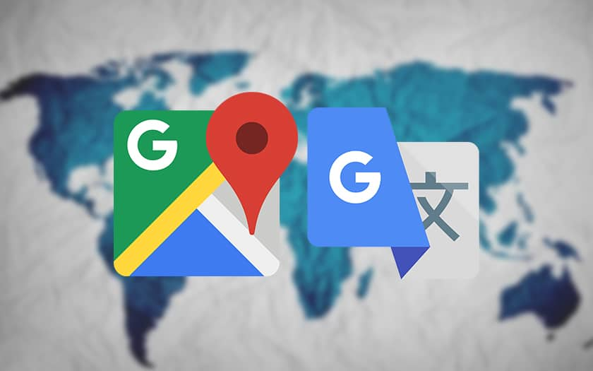 logo google maps et google traduction et carte du monde
