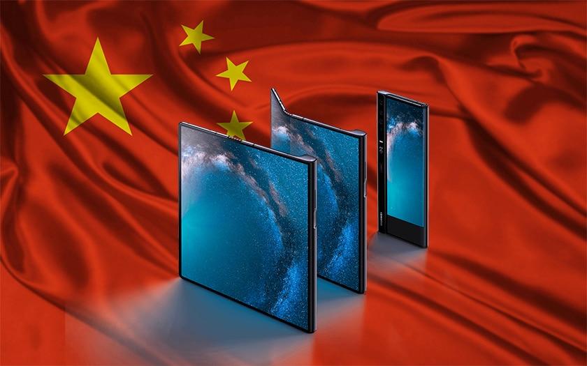 drapeau chinois et huawei mate X