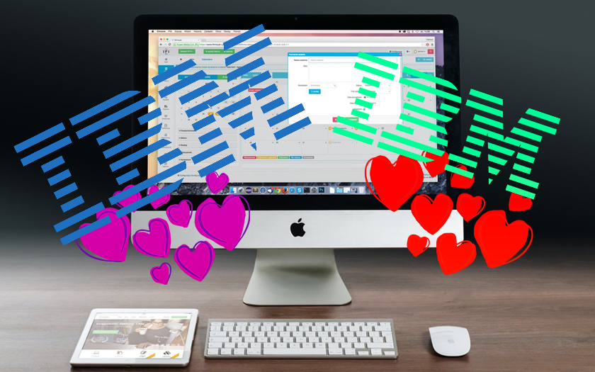 écran mac logo IBM et coeur