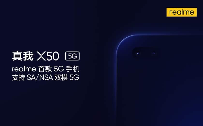 logo realme et image smartphone x50