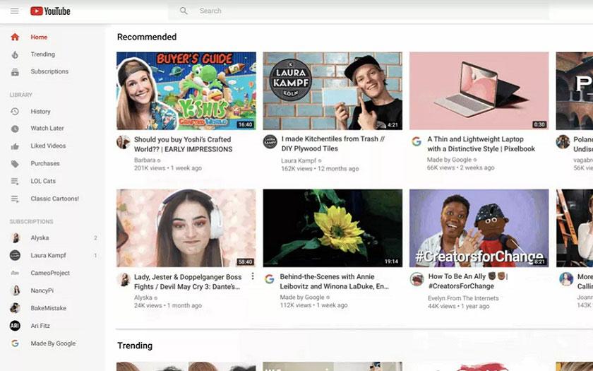 YouTube change de design sur PC