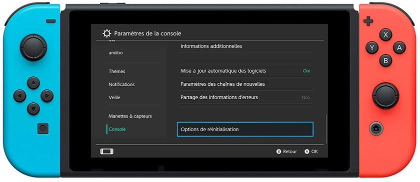 Comment Reinitialiser Nintendo Switch